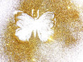 Butterfly of gold glitter on white background Royalty Free Stock Photo