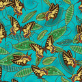 Butterfly green batik natural seamless pattern