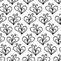 Butterfly heart white and black vector seamless pattern Royalty Free Stock Photo