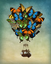 Butterfly hot air balloon Royalty Free Stock Photo