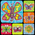 Butterfly icon set. Royalty Free Stock Photo