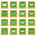Butterfly icons set green