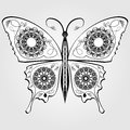 Butterfly with lace pattern on wings, monochromatic white and black calligraphic drawing on gray background. Vector design element Royalty Free Stock Photo