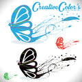 Butterfly logo colorful butterflies icon emblem illustration Royalty Free Stock Photos