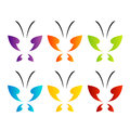 Butterfly logo in rainbow colors Royalty Free Stock Photo
