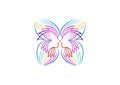 Butterfly logo, relax, woman icon, spa symbol, yoga, cosmetic, massage, beauty wellness concept design