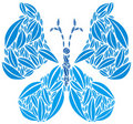 Butterfly made of Leaves in Blue Colors Royalty Free Stock Photo