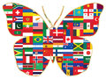 Butterfly made of world flags Stock Photography