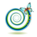 Butterfly moving in spiral outside of the Stock Photography