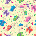 Butterfly Over Pink Flower Seamless Pattern Royalty Free Stock Photo