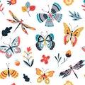 Butterfly pattern. Flying butterflies moths and summer flowers. Seamless fashion trendy fabric texture. Vector wallpaper