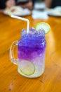 Butterfly pea water lemon juice Royalty Free Stock Photo