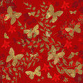 Butterfly on red floral seamless pattern background Royalty Free Stock Photo