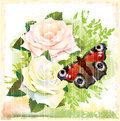 Butterfly and roses Royalty Free Stock Images