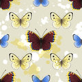 Butterfly seamless background with butterflies and paint splashes Stock Photos
