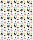 Butterfly seamless pattern bright with butterflies and flowers Stock Photo