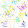 Butterfly seamless pattern. Ornamental hand drawn sketched colorful vector illustration, isolated on white background