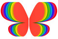 Butterfly shape symbol of rainbow colors on white background high resolution d image Royalty Free Stock Photo