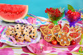 Butterfly shaped gingerbread and puff pastry cookies with bluebe blueberry for children s birthday party Stock Image