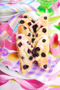 Butterfly shaped puff pastry cookies with blueberry for children s birthday party Royalty Free Stock Image
