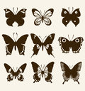 Butterfly silhouette set decorative for your design Stock Image
