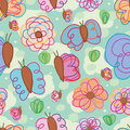 Butterfly style line paint free seamless pattern Royalty Free Stock Photo