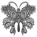 Butterfly with swirling decorative ornament. Royalty Free Stock Photo