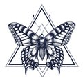 Butterfly tattoo. Dotwork tattoo. Graphic arts. Butterfly in triangle, geometry. Mystical symbol of freedom, nature, air