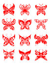 Butterfly tattoo set Stock Images