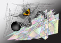 Butterfly tearing chain abstract environment multicolor background Stock Photos