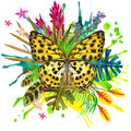 Butterfly, tropical leaves and exotic flower Royalty Free Stock Photo
