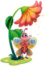 A butterfly waving below the giant flower illustration of on white background Stock Photos