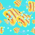 Butterflyfish seamless pattern on a blue background. vector illu Royalty Free Stock Photo