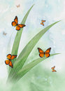 Butterflys watercolor styled monarch with grass and sky Royalty Free Stock Photos