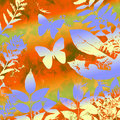 Butterly and leaves grunge Royalty Free Stock Photography