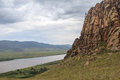 Buttes in a river selenga valley summer landscape Stock Image