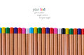 Buttom multi color pencil on white backgruond Royalty Free Stock Photography