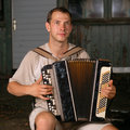 Button accordion playing evening serenade Royalty Free Stock Images