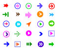 Button arrow sign icon set colorful simple shape internet and symbols on white background Royalty Free Stock Photos