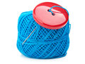 Button and ball yarn Royalty Free Stock Images