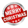 Button with banner Merry Christmas Royalty Free Stock Photo