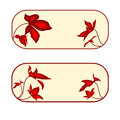 Button banner rectangle with red flowers vector illustration eps without gradients Stock Image