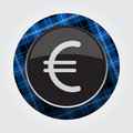 Button blue, black tartan - euro currency symbol Royalty Free Stock Photo