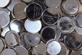 Button cell batteries dead old lithium Stock Images