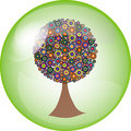 Button with colorful tree Royalty Free Stock Photo