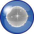 Button with disco ball Royalty Free Stock Photo