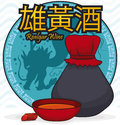Button with Dragon Silhouette, Crystal, Bowl and Realgar Wine Bottle, Vector Illustration