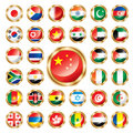 Button flags set Asia & Africa Royalty Free Stock Photo