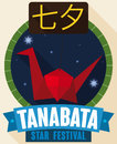 Button in Flat Style with Origami Crane for Japanese Tanabata, Vector Illustration