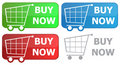 Button grocery cart Stock Images